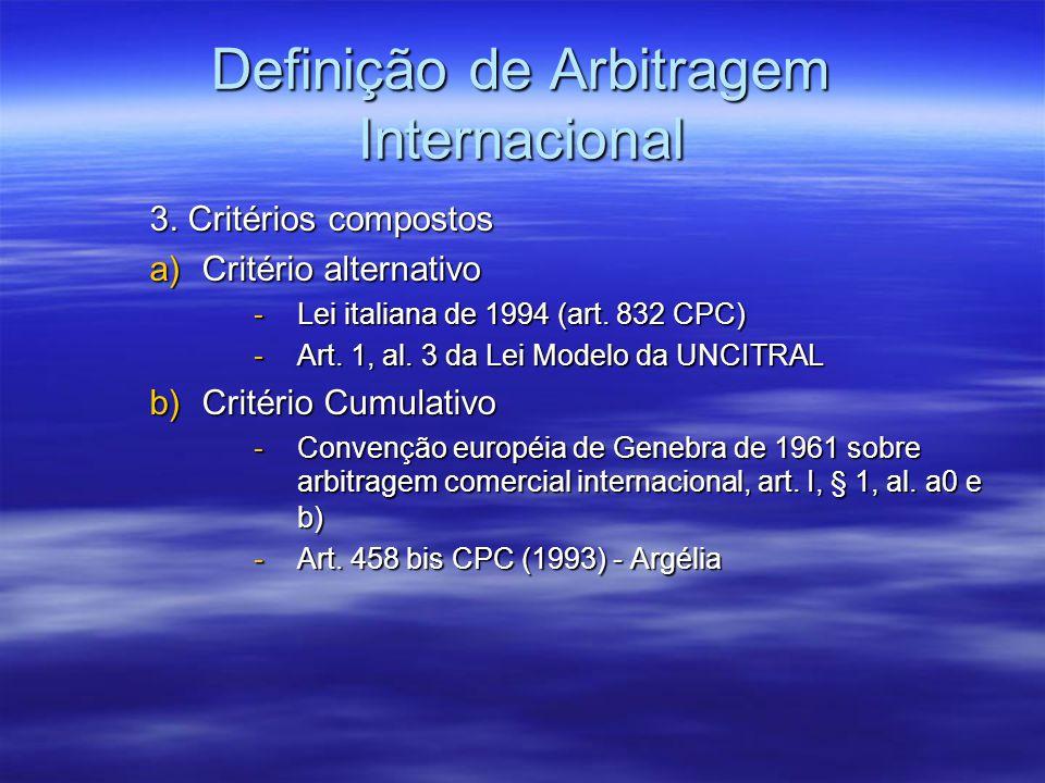 Definição de Arbitragem Internacional 3. Critérios compostos a)Critério alternativo -Lei italiana de 1994 (art. 832 CPC) -Art. 1, al. 3 da Lei Modelo