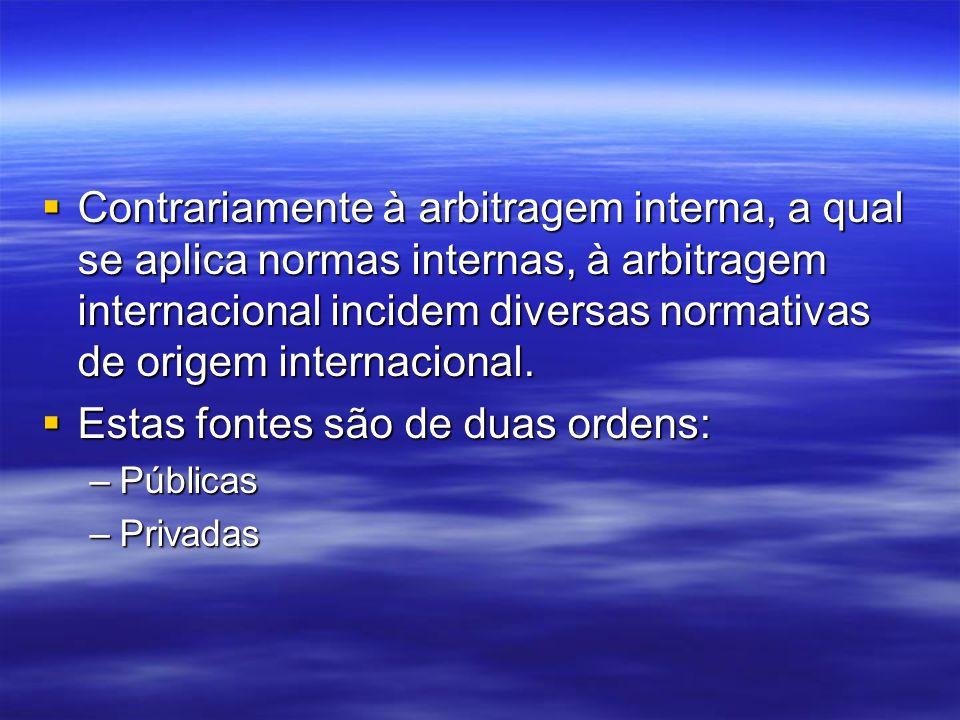 Contrariamente à arbitragem interna, a qual se aplica normas internas, à arbitragem internacional incidem diversas normativas de origem internacional.