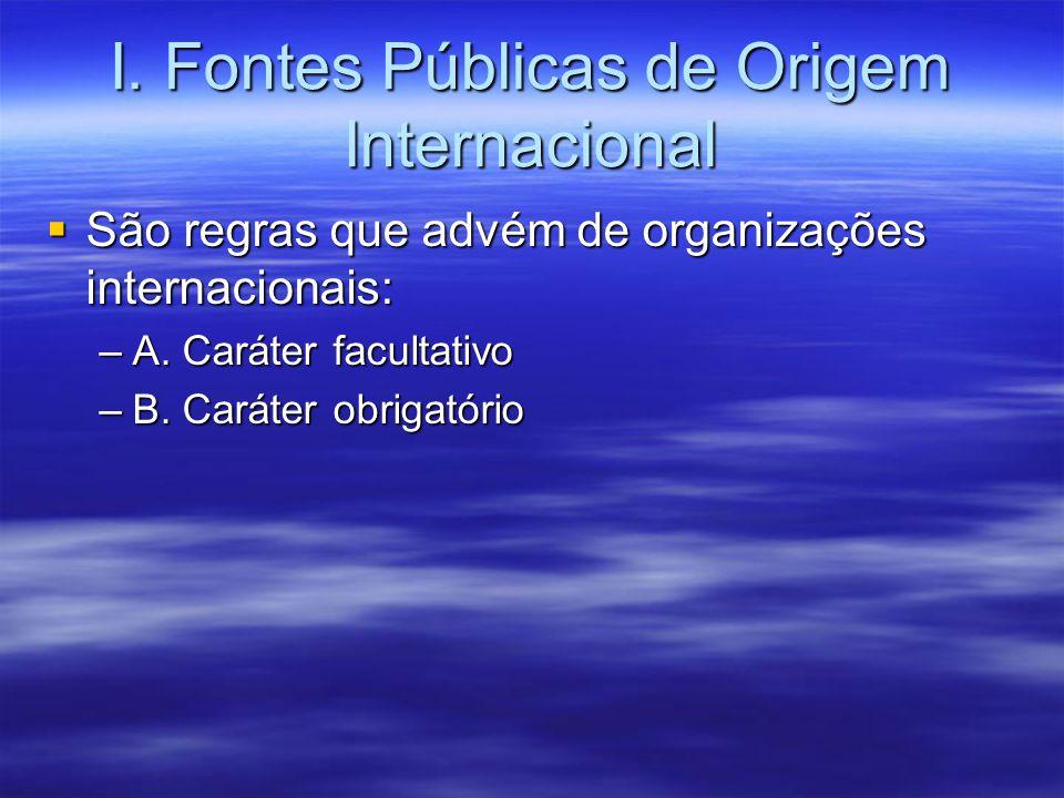 I. Fontes Públicas de Origem Internacional São regras que advém de organizações internacionais: São regras que advém de organizações internacionais: –