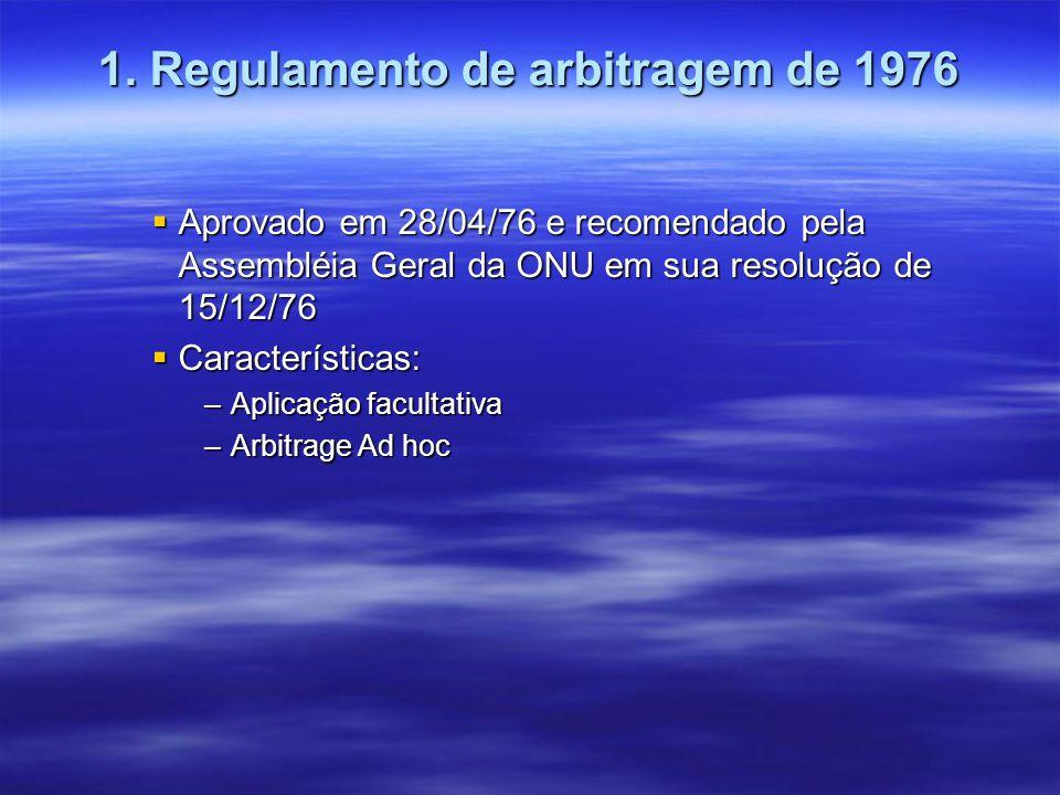 1. Regulamento de arbitragem de 1976 Aprovado em 28/04/76 e recomendado pela Assembléia Geral da ONU em sua resolução de 15/12/76 Aprovado em 28/04/76