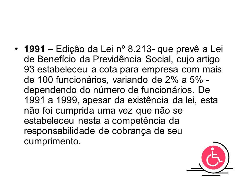 1991 – Edição da Lei nº 8.213- que prevê a Lei de Benefício da Previdência Social, cujo artigo 93 estabeleceu a cota para empresa com mais de 100 func