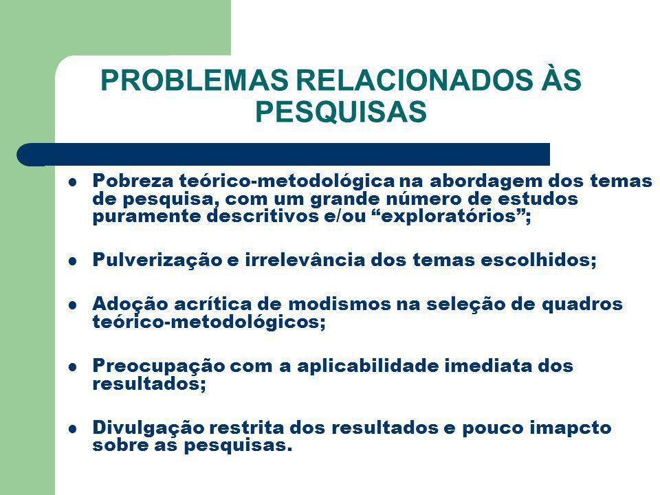 PROBLEMAS RELACIONADOS ÀS PESQUISAS Pobreza teórico-metodológica na abordagem dos temas de pesquisa, com um grande número de estudos puramente descrit