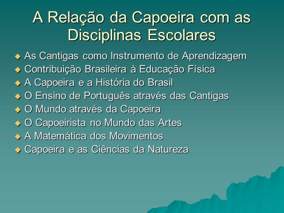 A Relação da Capoeira com as Disciplinas Escolares As Cantigas como Instrumento de Aprendizagem As Cantigas como Instrumento de Aprendizagem Contribui