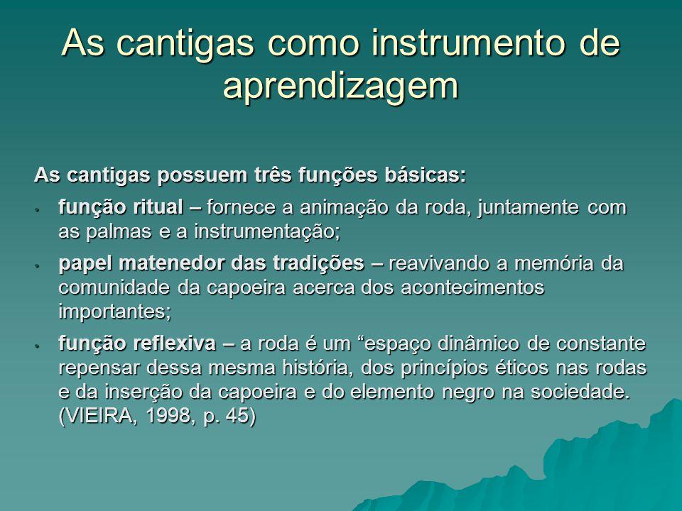 As cantigas como instrumento de aprendizagem As cantigas possuem três funções básicas: função ritual – fornece a animação da roda, juntamente com as p