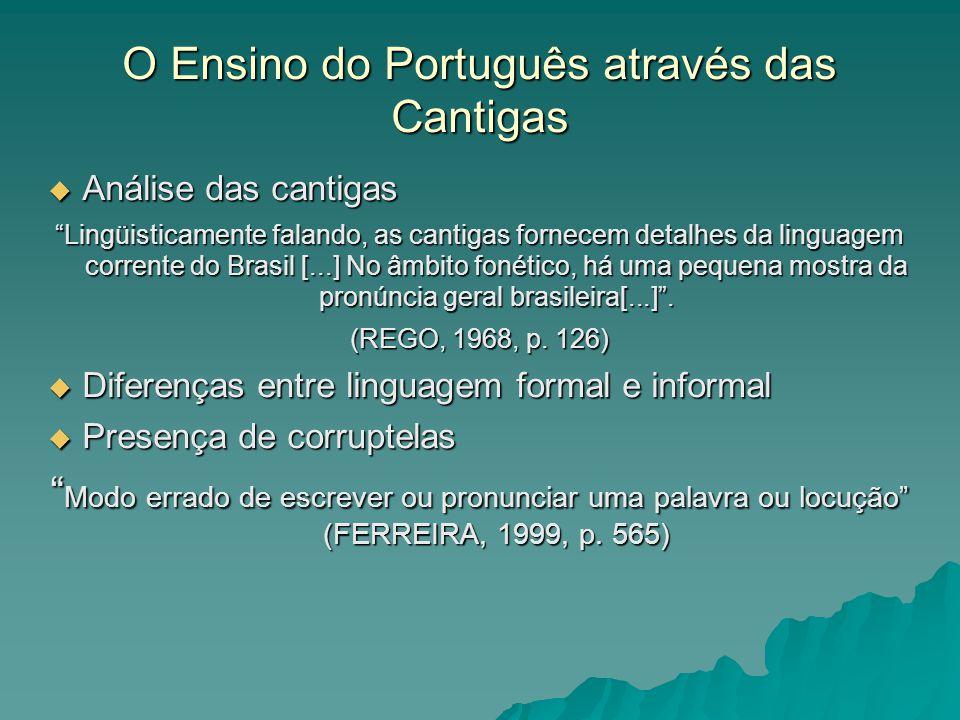Cantigas Onomatopéia Onomatopéia Nhen, nhen, nhen Nhen, nhen, nhen Cocorocó Cocorocó zum, zum, zum zum, zum, zum tum, tum, tum tum, tum, tum Corruptelas Corruptelas Cabôco = cabloco Cabôco = cabloco Camará = camarada Camará = camarada Nêgo = negro Nêgo = negro Yoyô, Yayá = senhor, senhora Yoyô, Yayá = senhor, senhora Tava = estava Tava = estava Tá = está Tá = está