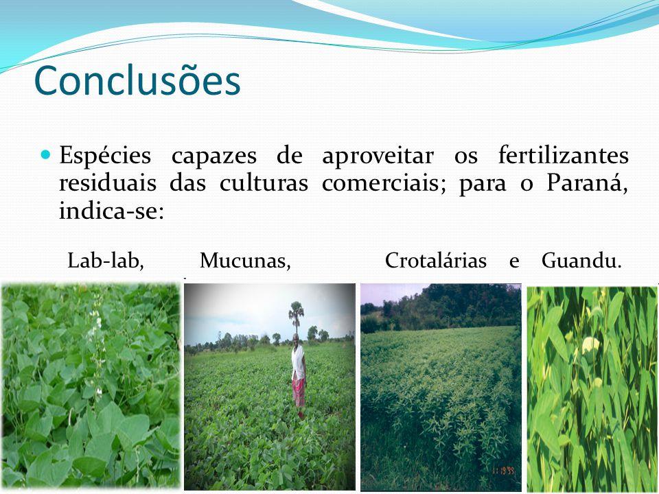 Conclusões Espécies capazes de aproveitar os fertilizantes residuais das culturas comerciais; para o Paraná, indica-se: Lab-lab, Mucunas, Crotalárias e Guandu.