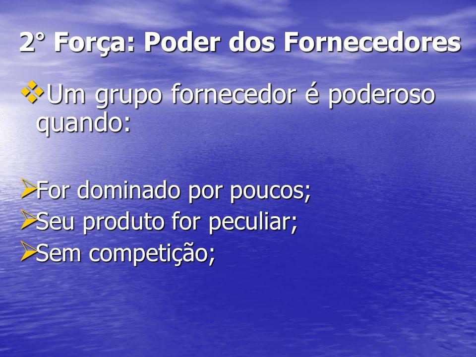 2° Força: Poder dos Fornecedores Um grupo fornecedor é poderoso quando: Um grupo fornecedor é poderoso quando: For dominado por poucos; For dominado p