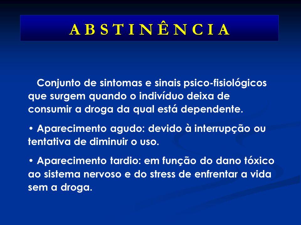 A B S T I N Ê N C I A Conjunto de sintomas e sinais psico-fisiológicos que surgem quando o indivíduo deixa de consumir a droga da qual está dependente