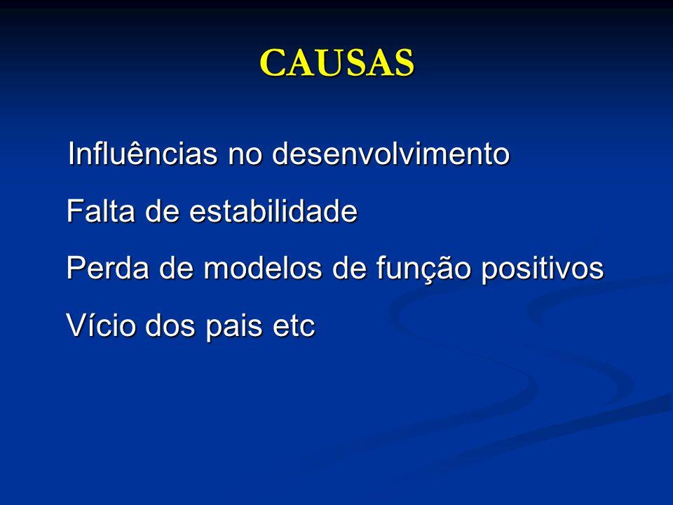 CAUSAS Influências no desenvolvimento Falta de estabilidade Perda de modelos de função positivos Vício dos pais etc Influências no desenvolvimento Fal