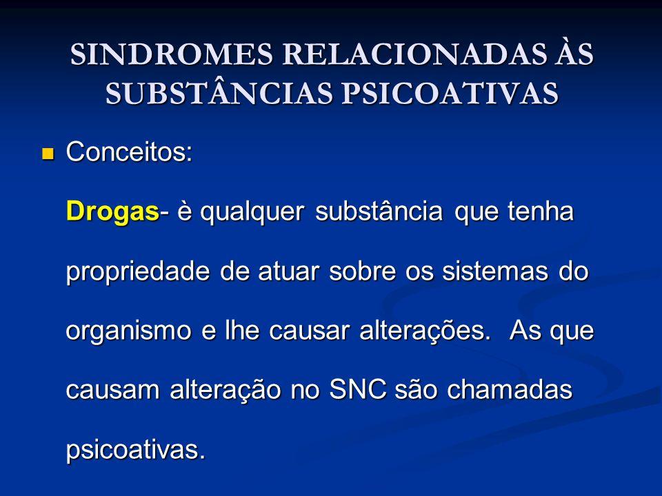 DROGAS PERTURBADORAS As drogas perturbadoras são aquelas relacionadas à produção de quadros de alucinação, geralmente de natureza visual.