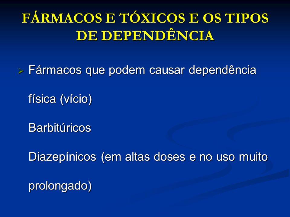 FÁRMACOS E TÓXICOS E OS TIPOS DE DEPENDÊNCIA Fármacos que podem causar dependência física (vício) Barbitúricos Diazepínicos (em altas doses e no uso m