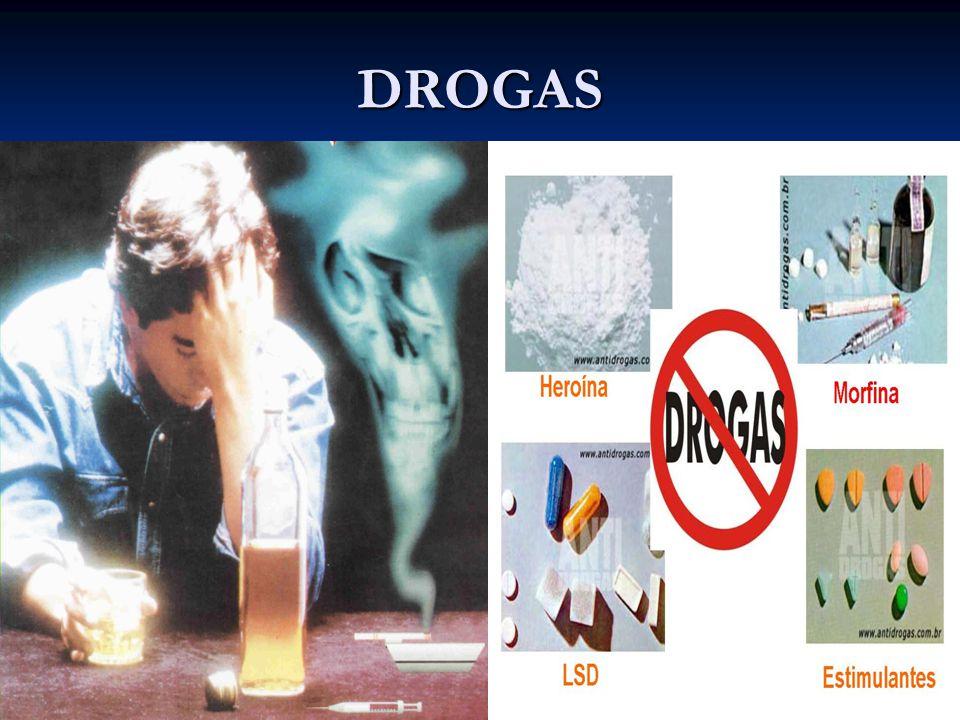 TIPOS DE DROGAS Alucinógenos propriamente ditos Alucinógenos propriamente ditos Derivados da cannabis (THC, maconha, haxixe) Derivados da cannabis (THC, maconha, haxixe) Derivados indólicos (plantas e cogumelos) Derivados indólicos (plantas e cogumelos) Substâncias sintéticas: LSD-25, MDMA (ecstasy) Substâncias sintéticas: LSD-25, MDMA (ecstasy) Alucinógenos secundários Alucinógenos secundários Anticolinérgicos (derivados de plantas; sintéticos) Anticolinérgicos (derivados de plantas; sintéticos) Outras substâncias em doses elevad as Outras substâncias em doses elevad as