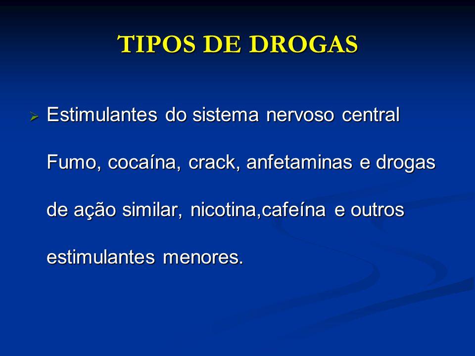 TIPOS DE DROGAS Estimulantes do sistema nervoso central Fumo, cocaína, crack, anfetaminas e drogas de ação similar, nicotina,cafeína e outros estimula