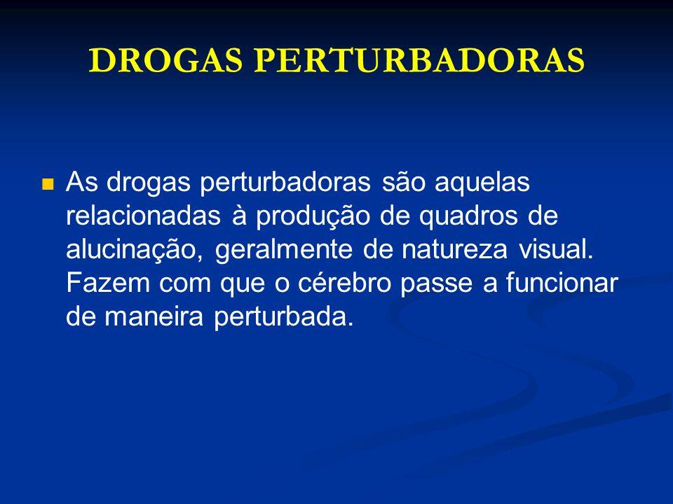 DROGAS PERTURBADORAS As drogas perturbadoras são aquelas relacionadas à produção de quadros de alucinação, geralmente de natureza visual. Fazem com qu