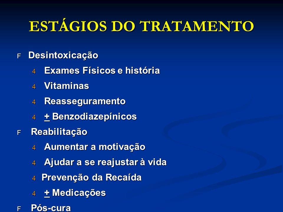 ESTÁGIOS DO TRATAMENTO F Desintoxicação 4 Exames Físicos e história 4 Vitaminas 4 Reasseguramento 4 + Benzodiazepínicos F Reabilitação 4 Aumentar a mo