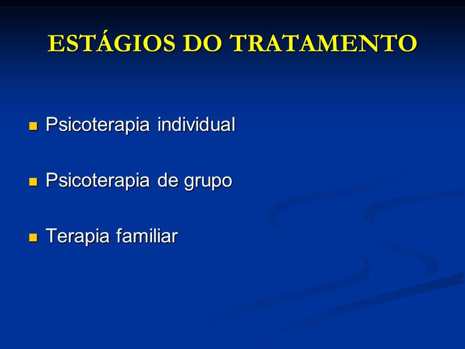 ESTÁGIOS DO TRATAMENTO Psicoterapia individual Psicoterapia individual Psicoterapia de grupo Psicoterapia de grupo Terapia familiar Terapia familiar