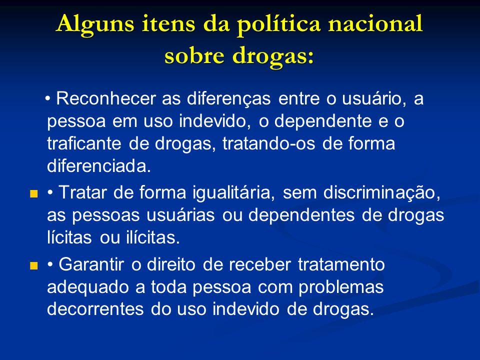 Alguns itens da política nacional sobre drogas: Reconhecer as diferenças entre o usuário, a pessoa em uso indevido, o dependente e o traficante de dro