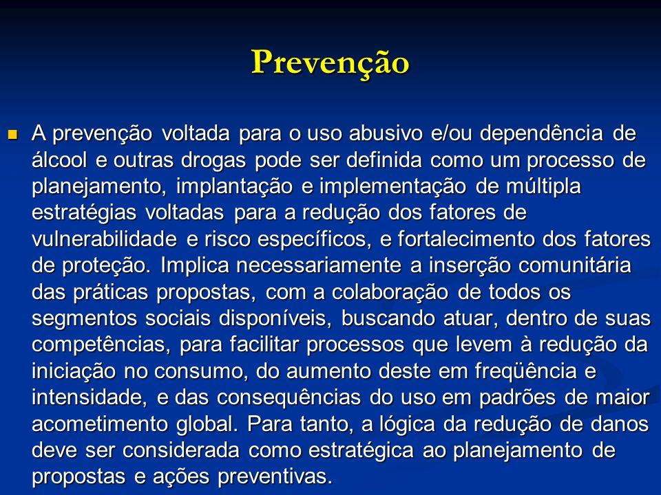 Prevenção A prevenção voltada para o uso abusivo e/ou dependência de álcool e outras drogas pode ser definida como um processo de planejamento, implan