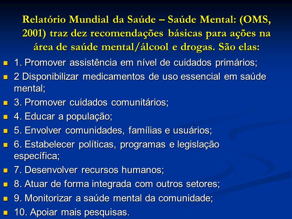 Relatório Mundial da Saúde – Saúde Mental: (OMS, 2001) traz dez recomendações básicas para ações na área de saúde mental/álcool e drogas. São elas: 1.