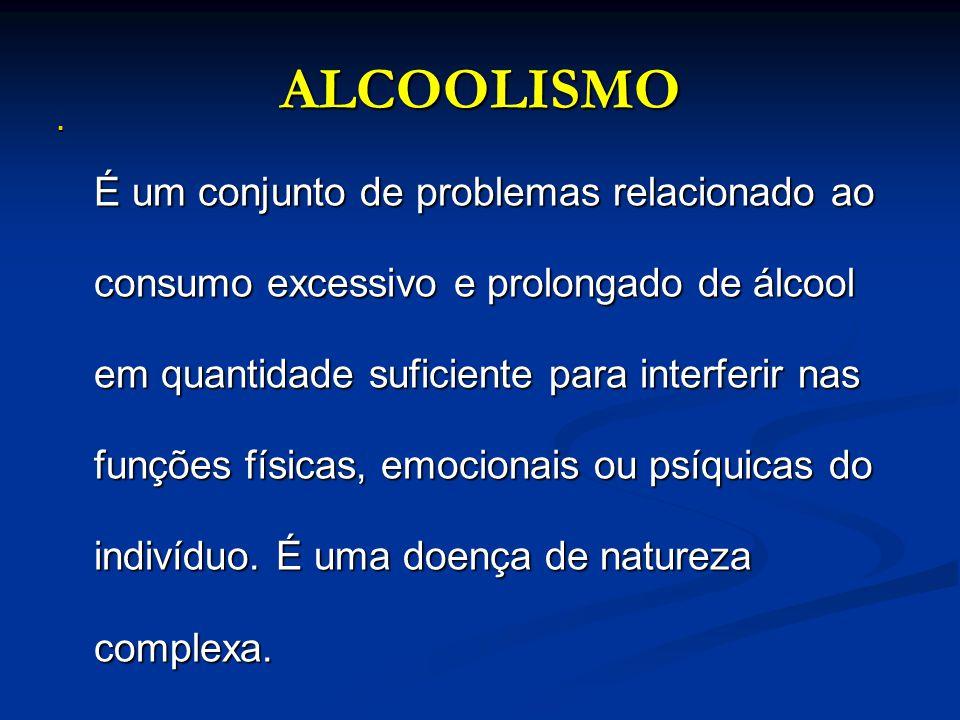 ALCOOLISMO É um conjunto de problemas relacionado ao consumo excessivo e prolongado de álcool em quantidade suficiente para interferir nas funções fís