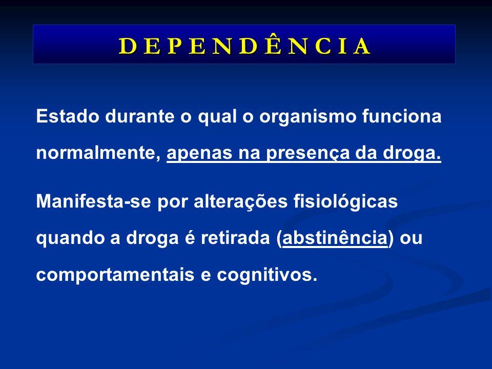 D E P E N D Ê N C I A Estado durante o qual o organismo funciona normalmente, apenas na presença da droga. Manifesta-se por alterações fisiológicas qu
