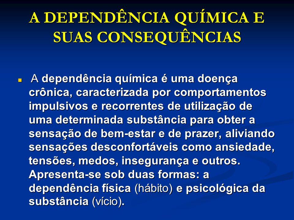 A DEPENDÊNCIA QUÍMICA E SUAS CONSEQUÊNCIAS A DEPENDÊNCIA QUÍMICA E SUAS CONSEQUÊNCIAS A dependência química é uma doença crônica, caracterizada por co