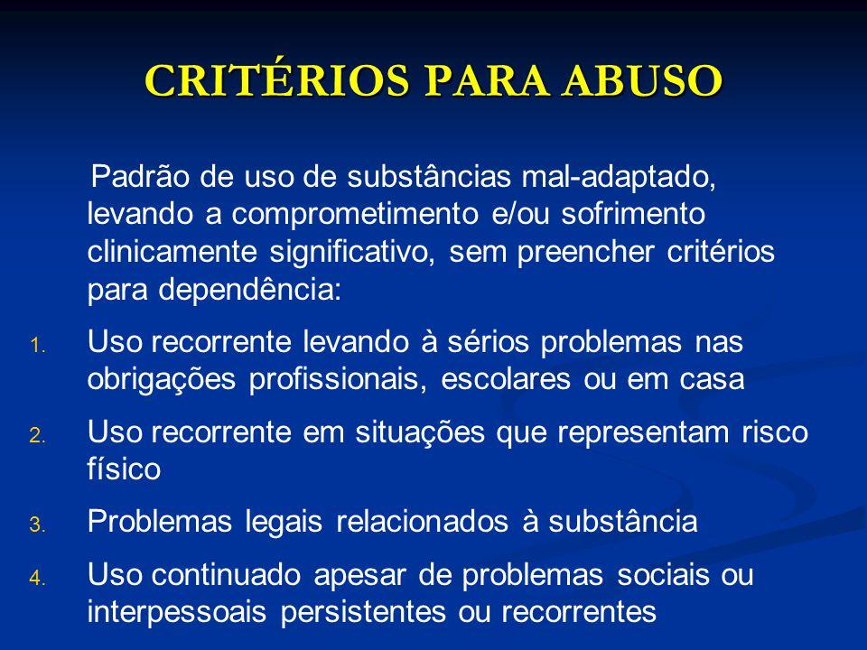 CRITÉRIOS PARA ABUSO Padrão de uso de substâncias mal-adaptado, levando a comprometimento e/ou sofrimento clinicamente significativo, sem preencher cr