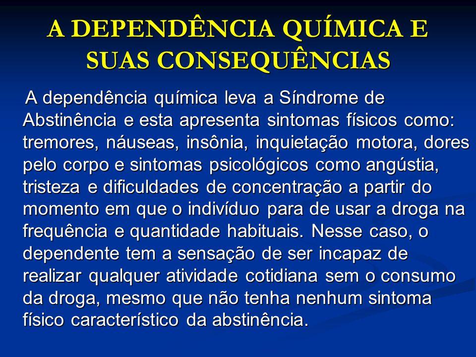 A DEPENDÊNCIA QUÍMICA E SUAS CONSEQUÊNCIAS A DEPENDÊNCIA QUÍMICA E SUAS CONSEQUÊNCIAS A dependência química leva a Síndrome de Abstinência e esta apre