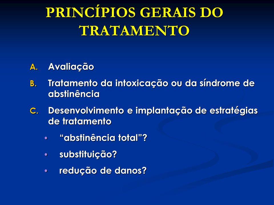 PRINCÍPIOS GERAIS DO TRATAMENTO A. Avaliação B. Tratamento da intoxicação ou da síndrome de abstinência C. Desenvolvimento e implantação de estratégia