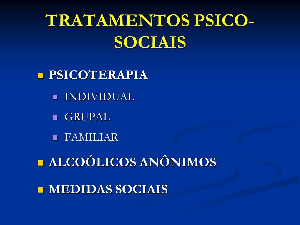 TRATAMENTOS PSICO- SOCIAIS PSICOTERAPIA PSICOTERAPIA INDIVIDUAL INDIVIDUAL GRUPAL GRUPAL FAMILIAR FAMILIAR ALCOÓLICOS ANÔNIMOS ALCOÓLICOS ANÔNIMOS MED