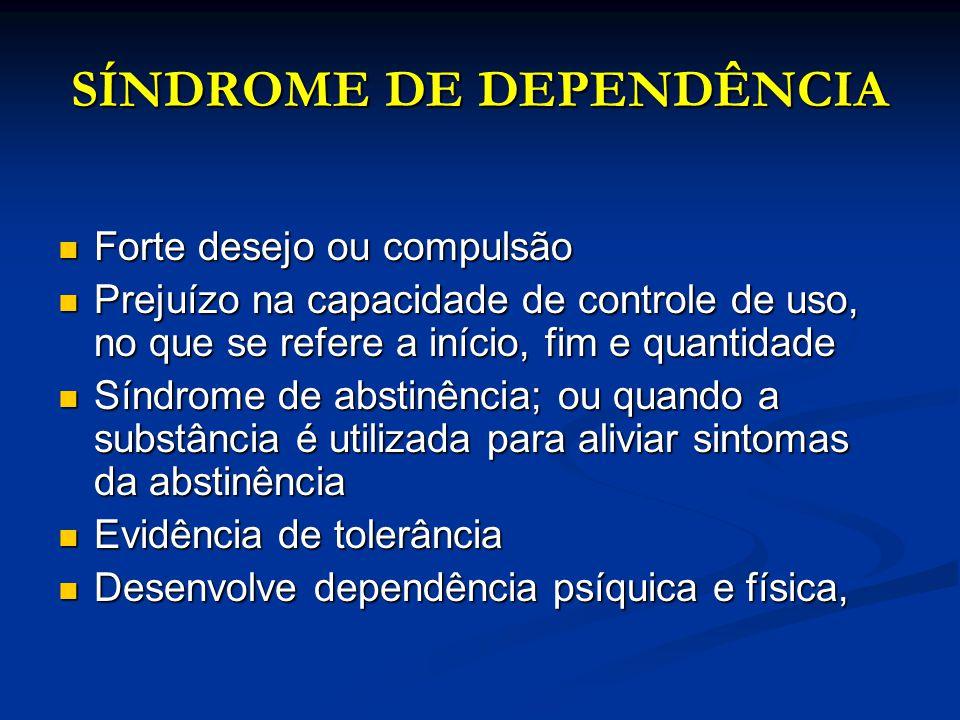 SÍNDROME DE DEPENDÊNCIA Forte desejo ou compulsão Forte desejo ou compulsão Prejuízo na capacidade de controle de uso, no que se refere a início, fim