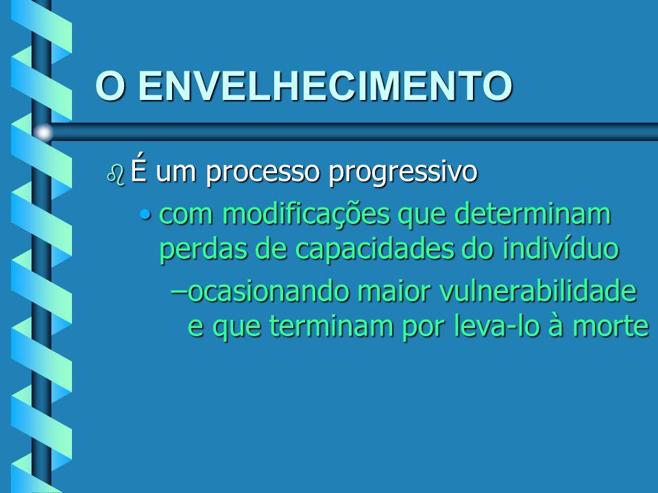 O ENVELHECIMENTO b É um processo progressivo com modificações que determinam perdas de capacidades do indivíduocom modificações que determinam perdas
