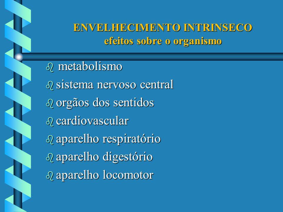 ENVELHECIMENTO INTRINSECO efeitos sobre o organismo metabolismo metabolismo b sistema nervoso central b orgãos dos sentidos b cardiovascular b aparelh