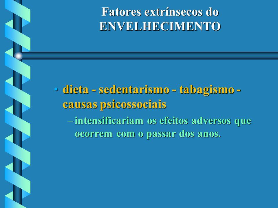 Fatores extrínsecos do ENVELHECIMENTO dieta - sedentarismo - tabagismo - causas psicossociaisdieta - sedentarismo - tabagismo - causas psicossociais –