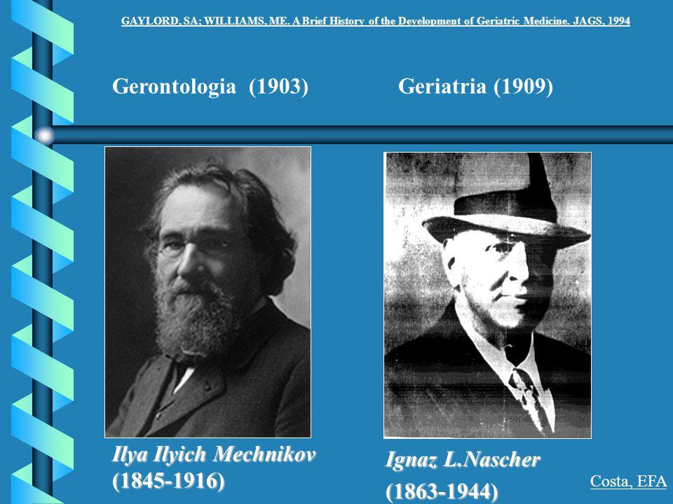 Gerontologia (1903) Ilya Ilyich Mechnikov (1845-1916) Geriatria (1909) Ignaz L.Nascher (1863-1944) Costa, EFA GAYLORD, SA; WILLIAMS, ME. A Brief Histo