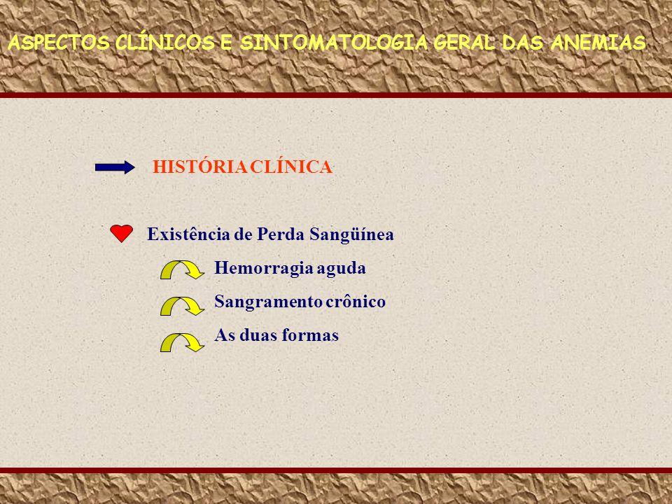 ASPECTOS CLÍNICOS E SINTOMATOLOGIA GERAL DAS ANEMIAS HISTÓRIA CLÍNICA Existência de Perda Sangüínea Hemorragia aguda Sangramento crônico As duas forma