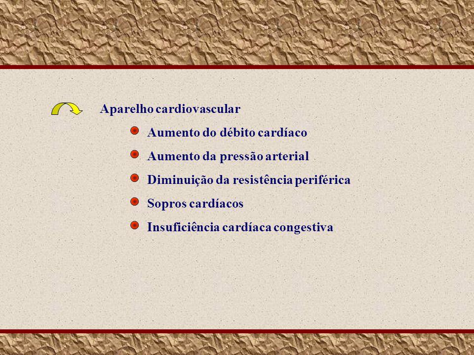 Aparelho cardiovascular Aumento do débito cardíaco Aumento da pressão arterial Diminuição da resistência periférica Sopros cardíacos Insuficiência car