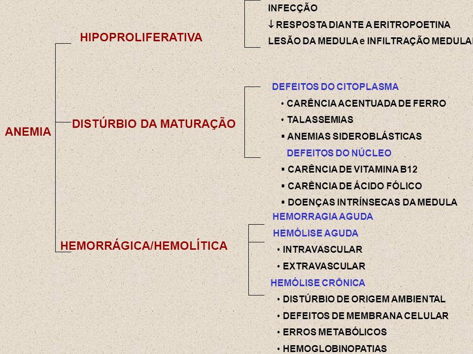 ANEMIA HIPOPROLIFERATIVA INFECÇÃO RESPOSTA DIANTE A ERITROPOETINA LESÃO DA MEDULA e INFILTRAÇÃO MEDULAR DISTÚRBIO DA MATURAÇÃO DEFEITOS DO CITOPLASMA