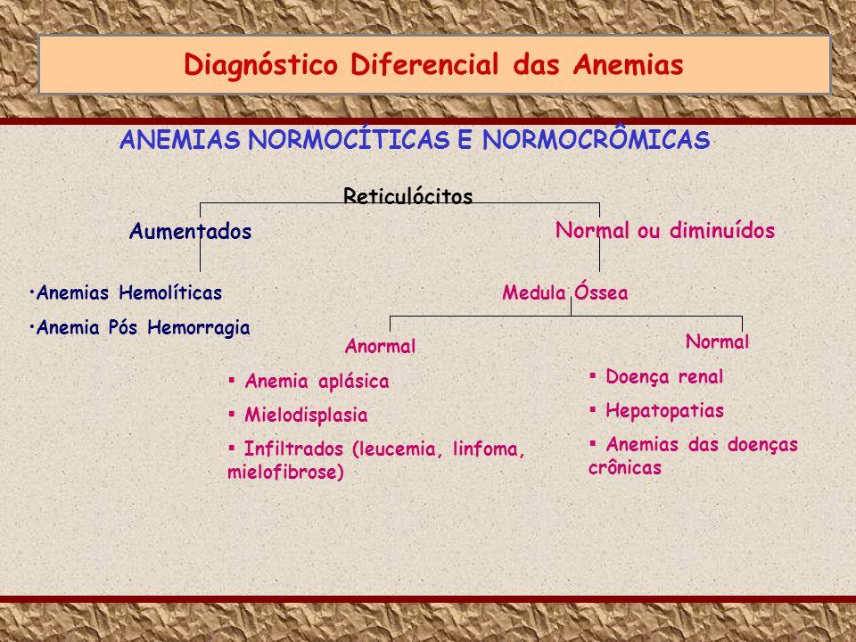 Diagnóstico Diferencial das Anemias ANEMIAS NORMOCÍTICAS E NORMOCRÔMICAS Anemias Hemolíticas Anemia Pós Hemorragia Medula Óssea Normal Doença renal He