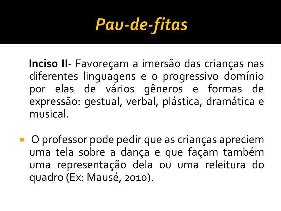 Inciso II- Favoreçam a imersão das crianças nas diferentes linguagens e o progressivo domínio por elas de vários gêneros e formas de expressão: gestua