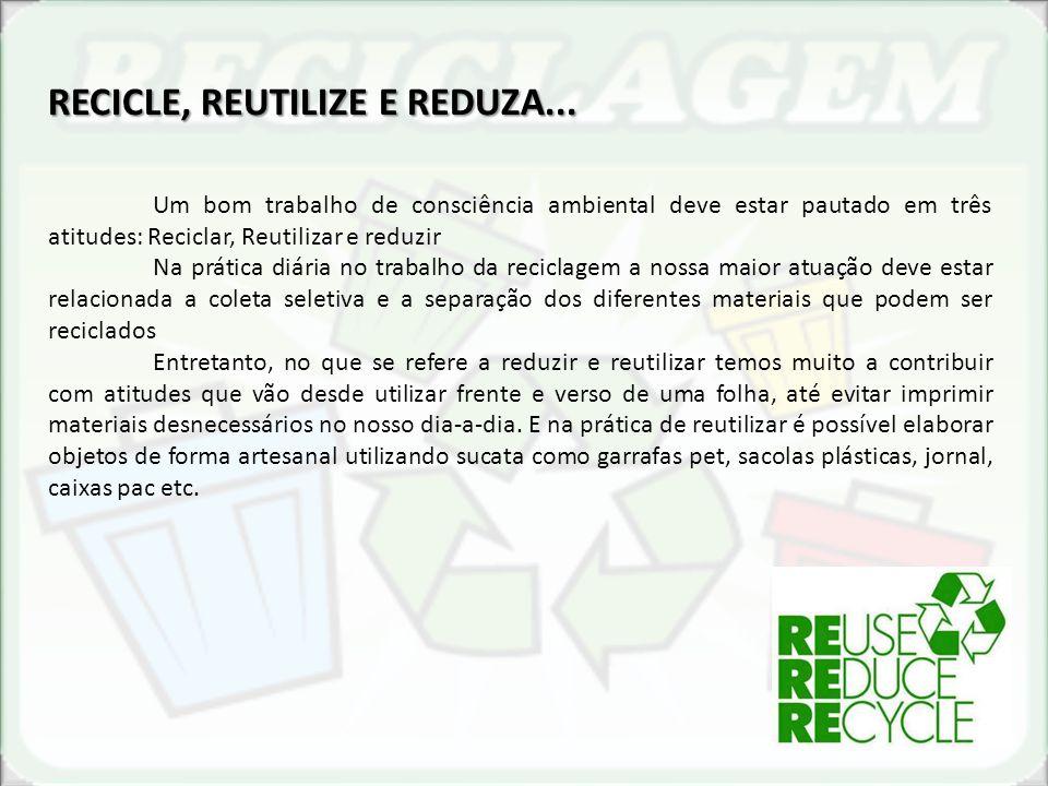 RECICLE, REUTILIZE E REDUZA... Um bom trabalho de consciência ambiental deve estar pautado em três atitudes: Reciclar, Reutilizar e reduzir Na prática