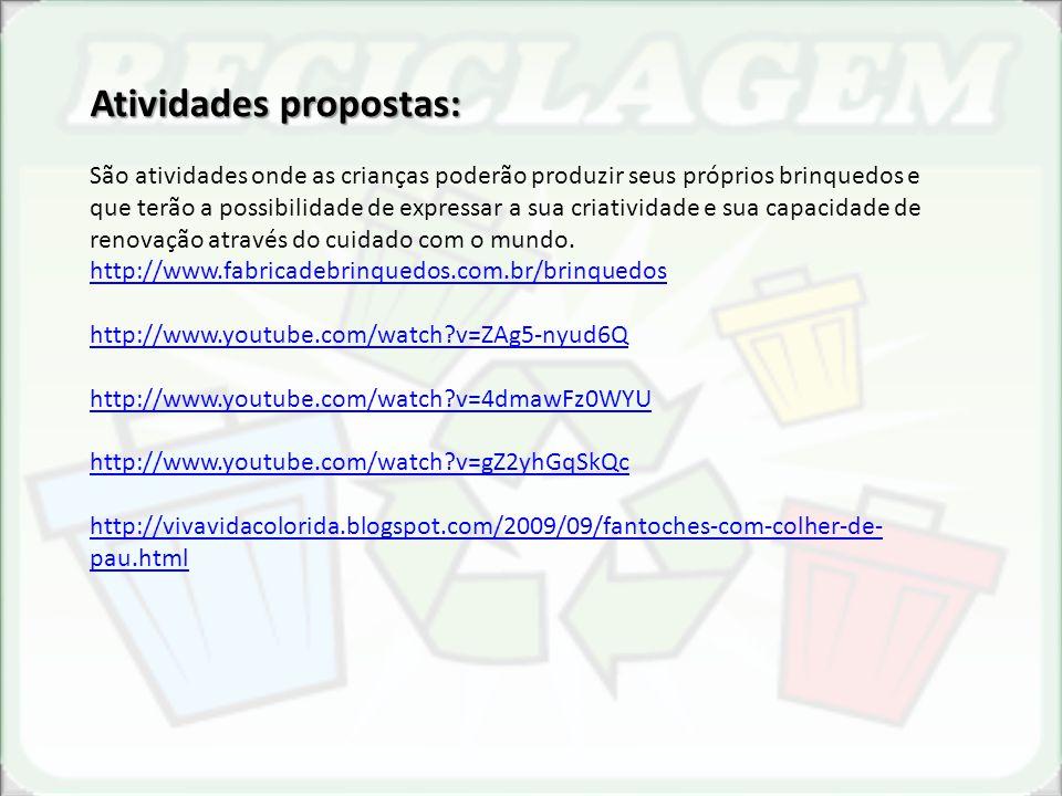 http://www.revistasustentabilidade.com.br/reciclagem http://www.fabricadebrinquedos.com.br/brinquedos.html http://www.smartkids.com.br/html/reciclagem.php http://chicapequena.blogspot.com/search/label/Passo%20a%20passo%20das%20caixa s%20de%20leite%20recicladas http://alemakeart.blogspot.com/2011/08/transformar-caixas-de-leite-em-lindas.html