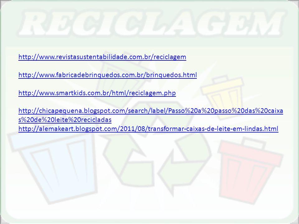 http://www.revistasustentabilidade.com.br/reciclagem http://www.fabricadebrinquedos.com.br/brinquedos.html http://www.smartkids.com.br/html/reciclagem