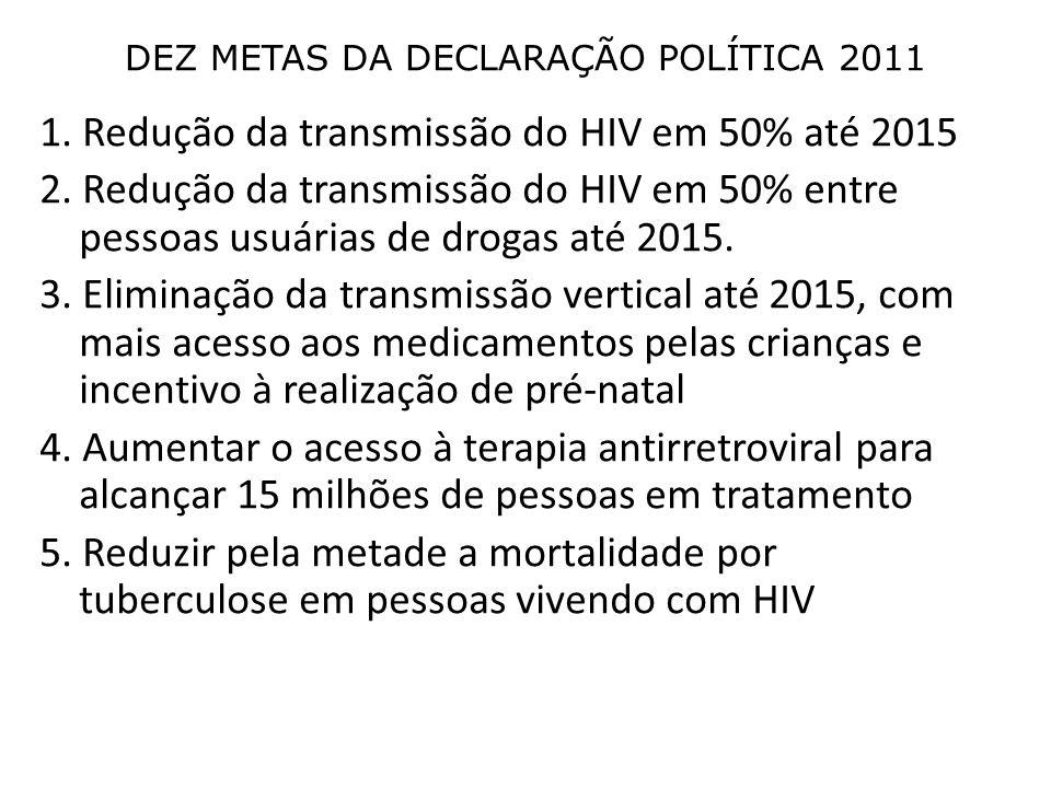 1. Redução da transmissão do HIV em 50% até 2015 2.