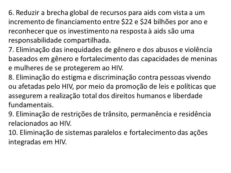 6. Reduzir a brecha global de recursos para aids com vista a um incremento de financiamento entre $22 e $24 bilhões por ano e reconhecer que os invest