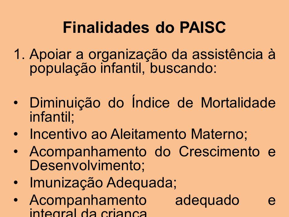 Finalidades do PAISC Possibilitar que os gestores e profissionais de saúde identifiquem as ações prioritárias para a saúde da criança, Definir diretrizes básicas para a identificação de linhas de cuidado integral para o funcionamento adequado de serviços.