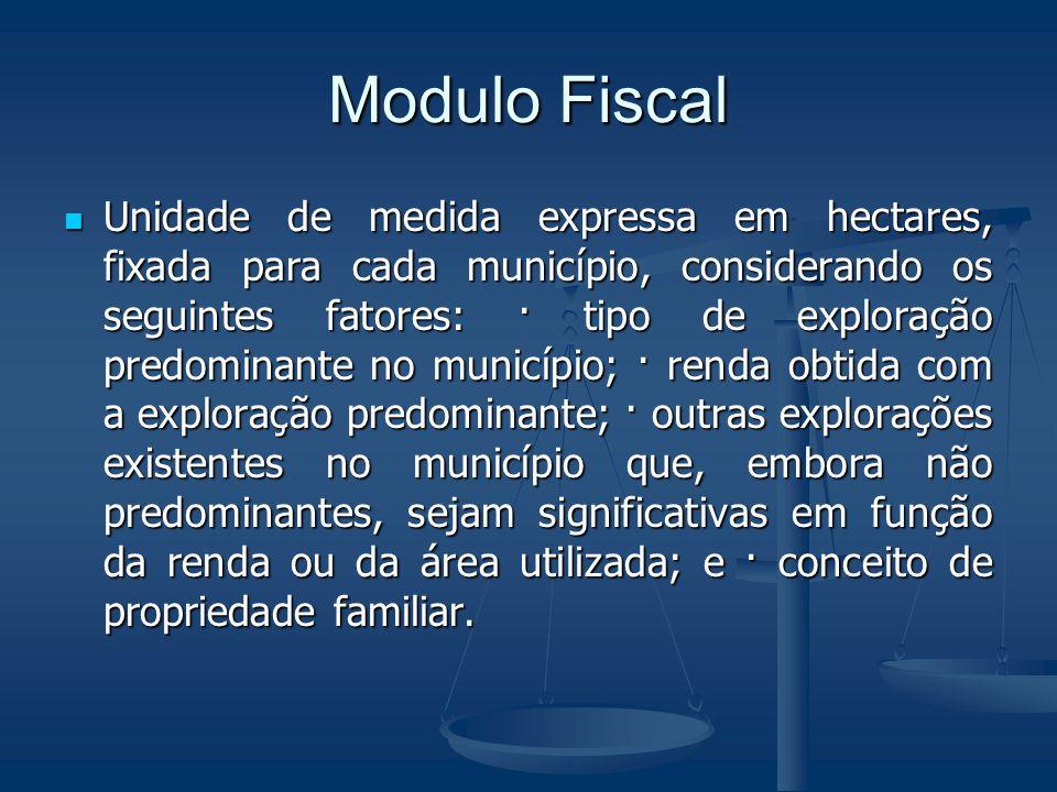 Modulo Fiscal Unidade de medida expressa em hectares, fixada para cada município, considerando os seguintes fatores: · tipo de exploração predominante