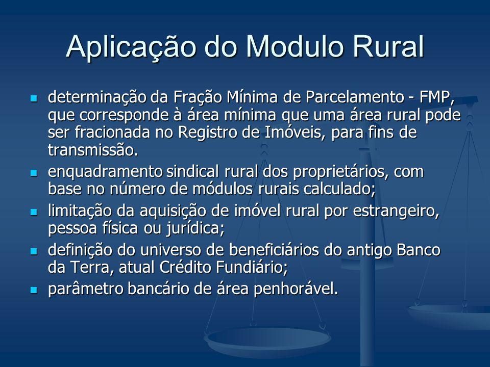 Aplicação do Modulo Rural determinação da Fração Mínima de Parcelamento - FMP, que corresponde à área mínima que uma área rural pode ser fracionada no