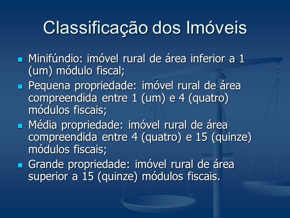 Classificação dos Imóveis Minifúndio: imóvel rural de área inferior a 1 (um) módulo fiscal; Minifúndio: imóvel rural de área inferior a 1 (um) módulo