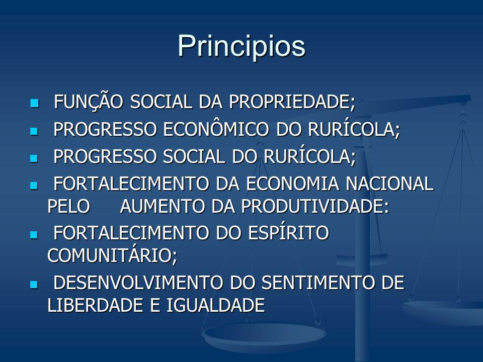 Principios FUNÇÃO SOCIAL DA PROPRIEDADE; FUNÇÃO SOCIAL DA PROPRIEDADE; PROGRESSO ECONÔMICO DO RURÍCOLA; PROGRESSO ECONÔMICO DO RURÍCOLA; PROGRESSO SOC
